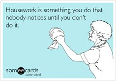 someecards.com - Housework is something you do that nobody notices until you don't do it.