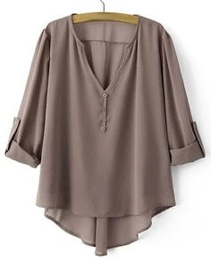 $12.89 Stylish V-Neck Asymmetrical Long Sleeve Blouse For Women