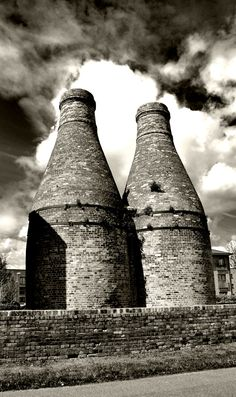 Gladstone Pottery works in Stoke-on-Trent, England. A working museum. We didn't go in, but these towers stood tall against the backdrop of the city...and we circled around them a few times, and I admired them each time!