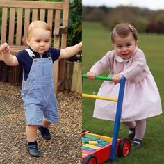 George & Charlotte put their first steps during the birthday photo shoot