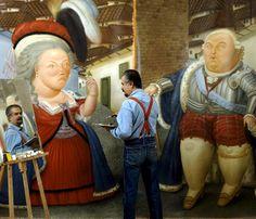 Fernando Botero dans son, atelier a París,1990. Fotografía de Manuel Litran
