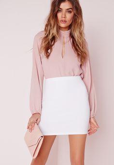 Missguided - Petite Scuba Mini Skirt White