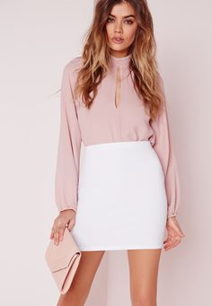 Missguided - Petite Scuba Mini Skirt White
