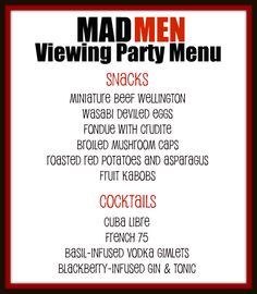 mad men party. Site with links for food, dress, makeup and music