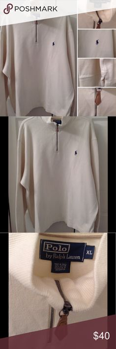 Polo Ralph Lauren Men's Half Zip Pullover Polo men's half zip pullover. Ivory cotton knit with banded cuffs. Mock turtleneck with side slits at bottom. Suede zipper pull. Traditional Polo logo on front. Great wardrobe staple, wear all year round. Excellent condition. Polo by Ralph Lauren Sweaters