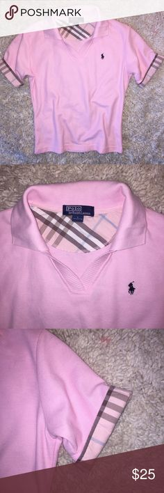 Youth Polo by Ralph Lauren top...Size L Gorgeous girls polo shirt by Polo by Ralph Lauren...Size L...this beautiful top is pink in color and has a plaid/check trim around the arms...this shirt has no rips, stains or snags and comes from a smoke free home! Polo by Ralph Lauren Shirts & Tops Polos