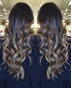 Beige Blonde Balayage on Dark Long Hair
