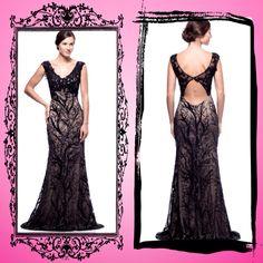 Exquisito vestido negro pedrería y encaje destaca  tu silueta . Bellísimo