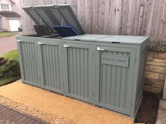 Bin shed with parcel drop. Style not appropriate for our house but adding a parcel drop could be a good idea.