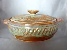 Casserole Dish made of Stoneware, Brown Wheel Thrown Pottery