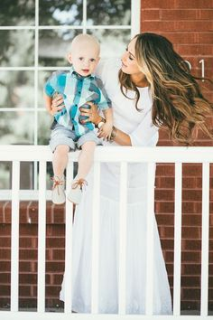 That white maxi dress! Beautiful with the embroidered details and the little boy outfit!