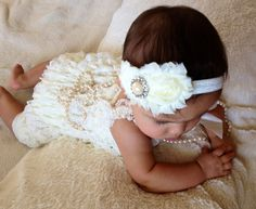 Ivory Vintage Lace Petti Romper  Baby Girl by MyLilSweetieBoutique, $21.95
