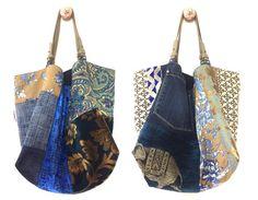 "Large tote bag reversible two-sided ""Ming"" patchwork fabric upholstery linen, removable leather straps, size L, OOAK Patchwork Fabric, Patchwork Bags, Quilted Bag, Pochette Diy, Diy Bags Purses, Art Bag, Boho Bags, Linen Bag, Denim Bag"
