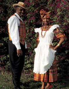 Antigua And Barbuda National Dress | Plaid in red, navy blue, white, black and yellow with white apron
