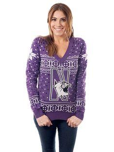 Women s Northwestern University Sweater - Northwestern Wildcats Ugly  Christmas Sweater - C1126HLMR71 ca684b0d4