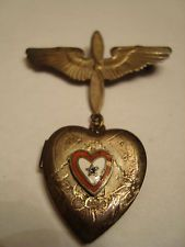 WWII Sterling Army Air Corps Sweetheart Pin Locket w/Pictures