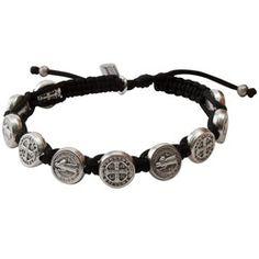 Silver Benedictine Blessing Bracelet, Black Macrame | The Catholic Company