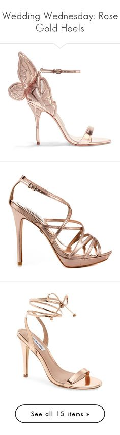 """""""Wedding Wednesday: Rose Gold Heels"""" by polyvore-editorial ❤ liked on Polyvore featuring weddingwednesday, rosegoldheels, shoes, sandals, heels, metallic, floral print shoes, leather ankle strap sandals, floral sandals and leather sandals"""