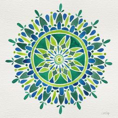 Watercolor Mandala – Green Art Print