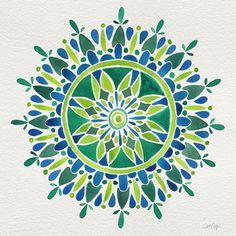 Watercolor Mandala – Green Art Print
