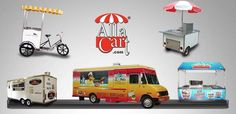 custom food trucks, vending carts and trikes. learn more about allacart,com Vendor Cart, Custom Food Trucks, Concession Trailer, Street Vendor, Street Food, Learning, Trailers, Action, Cars