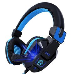 Vomercy Over-ear Gaming Headset Wired Adjustable Headband Soft Noise Isolation Headphone with Microphone LED Light #deals
