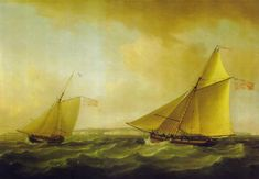 18th Century  | Trinity House Yacht and a Revenue Service Cutter off Ramsgate