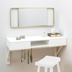 Are you interested in our Floating dressing table ? With our Wall mounted dressing table you need look no further. Wall Mounted Dressing Table, Dressing Table With Drawers, Small Dressing Table, Dressing Table Design, Diy Dressing Tables, Furniture For Small Spaces, Large Furniture, Office Furniture, Furniture Design