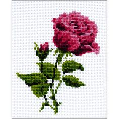 "A rose for Valentine's Day that will never wilt! Elizabeth Counted Cross Stitch Kit-5""X6.25"" 14 Count"