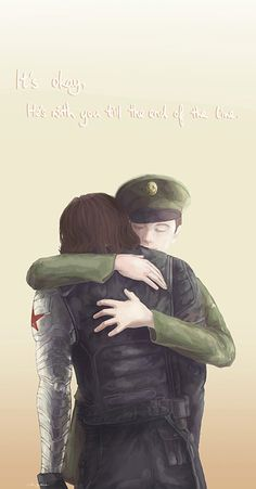 Crying. I'm crying. Fandom has finally shattered the last of my resistance. #1944 Bucky hugging 2014 Bucky and it's beautiful