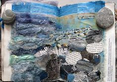 textile artist photography and mixed media - Carolyn Saxby Textile Art St Ives Cornwall A Level Art Sketchbook, Sketchbook Layout, Fashion Sketchbook, Sketchbook Inspiration, Sketchbook Ideas, Artist Sketchbook, Art Textile, Textile Artists, Water Art