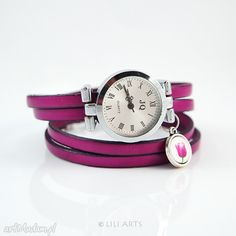Bransoletka, zegarek - Tulipan - amarantowy, fuksja. $29
