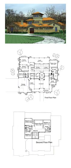 Italian House Plan 65883 | Total Living Area: 5309 sq. ft., 5 bedrooms and 4.5 bathrooms. #italianhouse