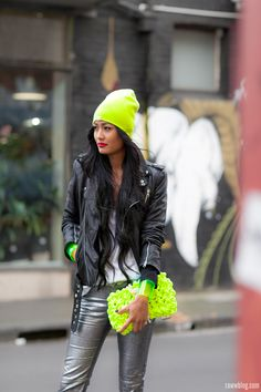 neon crazy. and leather and silver pants? unf