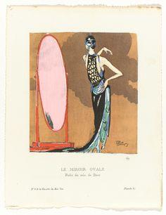Avondjapon van zilverlamé van Beer, Gazette du Bon Ton, 1920, nr. 8, pl. 6 Illustration by Jean-Dominique Domergue, courtesy of Rijksmuseum