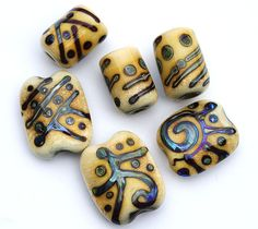 Rustic beads handmade lampwork glass set by MayaHoney by MayaHoney