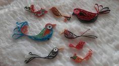 Verschiedene gequillte Vögel