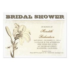 custom bridal shower invitation with beautiful aged design and love flower - white lily blossom. Be unique with this popular, top, the best and the loveliest bridal shower invitations, announcements. I suggest a Linen paper for this design. If you need more additional products (like bridal buttons , bridal shower postage stamps, letterheads, wedding stickers etc), please contact me. If you like my style, please go to my store and see a lot of unique designs.
