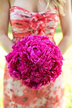 Round bouquet of hot pink peonies: http://www.stylemepretty.com/2015/06/10/the-25-prettiest-peony-bouquets/