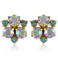 1960s Vintage Aurora Borealis Crystal Earrings