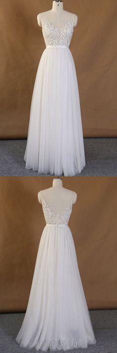 Cheap Wedding Dresses,A-line Wedding Dresses, V-neck Bridal Gowns, Lace Bridal Dresses, Backless Wedding Dresses
