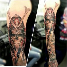 Japanese inspired skeleton warrior (Samurai) tattoo. Like the koi as well.