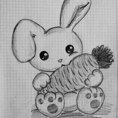 Sweet hare with a carrot Drawing Easter Drawings, Cute Animal Drawings, Pencil Art Drawings, Kawaii Drawings, Art Drawings Sketches, Disney Drawings, Cute Drawings, Easy Cartoon Drawings, Carrot Drawing