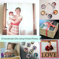 10 gift options to make using photos and your printer - super easy! Lots of Mod Podge!