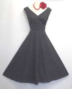 Pin up Vintage1940'/50s style Navy Blue Dress.
