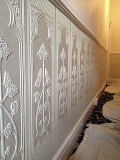Lincrusta dado panels installation project in Cheshire Victorian Wallpaper, Home Wallpaper, Wallpaper, Paintable Wallpaper, Wallpaper Panels, Textured Wallpaper, Hall Wallpaper, Hallway Decorating, Victorian Interior