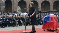 """La Presidenta Bachelet ofreció el último discurso de la jornada y afirmó que """"Chile no olvidará el esfuerzo de Patricio Aylwin por dejar sentados los cimientos del reencuentro nacional""""."""