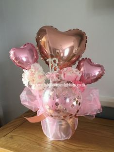 Mini hearts, rose gold confetti balloon & a keepsake diamante 15th Birthday Party Ideas, Cake Table Birthday, Cute Birthday Gift, Birthday Bouquet, Diy Birthday Decorations, Birthday Centerpieces, Balloon Decorations Party, Balloon Centerpieces, 17th Birthday