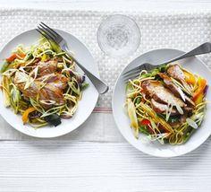 Sticky soy & honey pork with Asian noodles