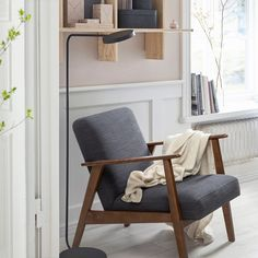 EKENÄSET armchair adds a stylish retro vibe to the room which is inspired by Scandinavian design. Place it in your living room, bedroom or hallway to enjoy comfy seating and a classic look. Armchair, Ikea, Furniture, Fabric Armchairs, Home, Ikea Armchair, Chair Fabric, Comfy Seating, Chair Legs